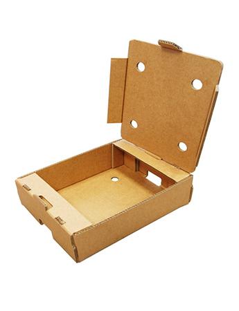 La caja automontable para frutas y verduras es apilable y resistente (doble canal).