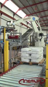 línea robotizada de Paletizado de sacos