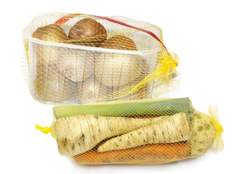 Mallas extruidas para empacar verduras, frutas
