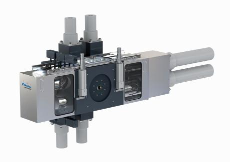 Cambiador de filtros tipo V de Nordson Kreyenborg.