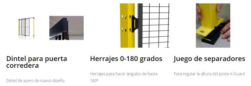 Protección maquinaria X-GUARD Complementos, dintel, herrajes y separadores