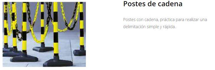 Marcaje de seguridad, postes cadena