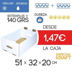 Caja de cartón para Almacenaje Especial Kraft Blanca 51x32x20 cm