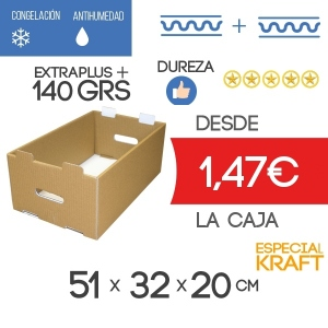 Caja de cartón para Almacenaje Especial Marrón Kraft 51x32x20 cm