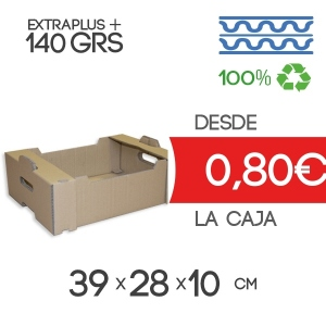 Caja de Cartón para Fruta Automontable Canal Doble 39x28x10 cm para 10-15Kg