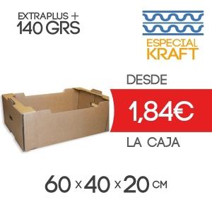 Caja de Cartón para Fruta Especial Kraft en Canal Doble 60x40x20 cm para 20-25 Kg