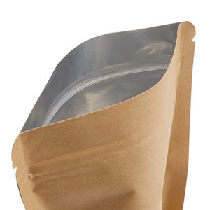 bolsa con fondo ríjido con cierre a presión aglomerado de papel
