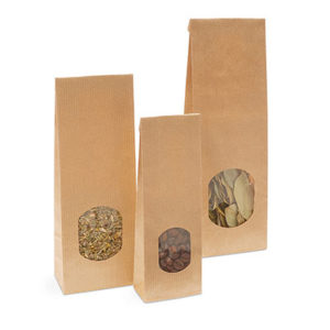 bolsa de fondo plano de papel con visor