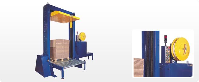 Máquina automática con prensa para el flejado vertical de palets de cartón.