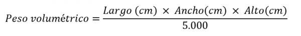 Fórmulas para calcular el peso volumen de una caja