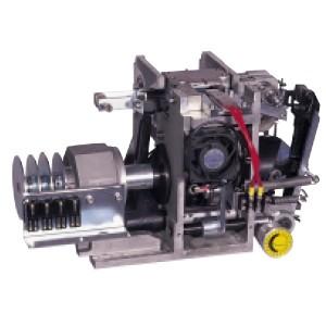 Detalle del cabezal de aluminio, rodillos de tensión templados para una mayor duración de la máquina.