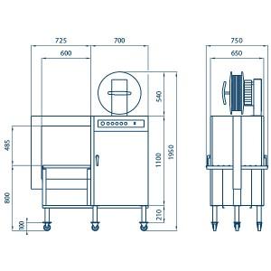 Flejadora SPK 2000 – dimensiones.