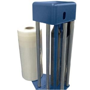 """Carro FR – El carro FR está dotado de un dispositivo de estiraje del film, realizado mediante un freno electromecánico; Es posible controlarlo desde el panel de mando. El arranque del freno está temporizado, con el objetivo de facilitar el enganche del film en la base del bancal. Si se desea, es posible programar la acción del freno electromagnético mediante PLC o bien desde el panel. (con sistema QLS """"QUICK LOAD SYSTEM"""" para la carga rápida del film)."""