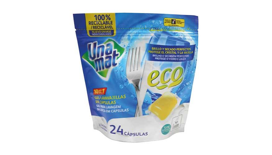 Doypack , envase 00% reciclable de Universal Sleeve para las cápsulas de lavavajillas Unamat.