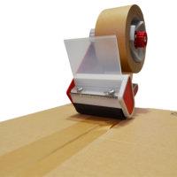 Cinta de embalaje de papel no siliconado impregnado con un adhesivo de caucho natural
